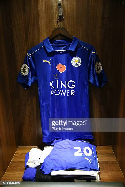 Leicester City's poppy shirts hang in the changing room's for the clubs remembrance fixture before the Barclays Premier League match between...