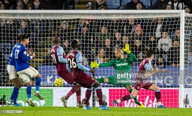 Leicester City's Ricardo Pereira scoring his side's second goal past West Ham United's goalkeeper Darren Randolph during the Premier League match...