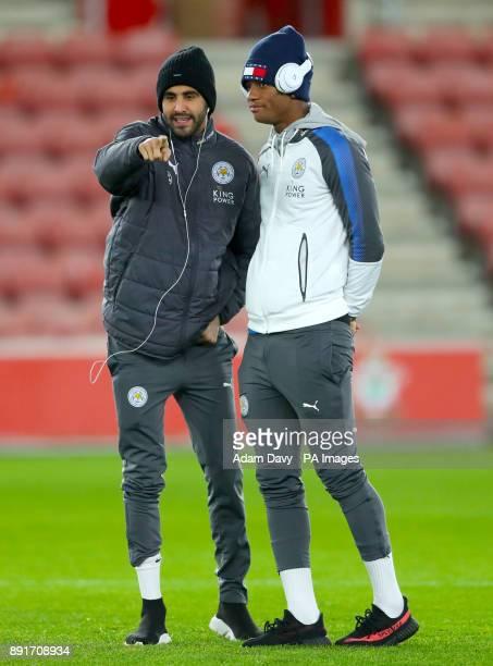 Leicester City's Riyad Mahrez and Leicester City's Demarai Gray ahead of the Premier League match at St Mary's Stadium Southampton