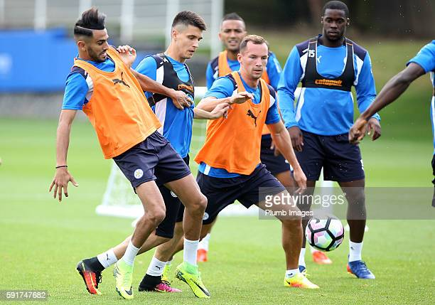 Leicester City's Riyad Mahrez Bartosz Kapustka and Danny Drinkwater during the Leicester City training session at Belvoir Drive Training Complex on...