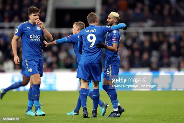 Leicester City's Riyad Mahrez celebrates scoring his side's first goal of the game with Jamie Vardy during the Premier League match at St James' Park...