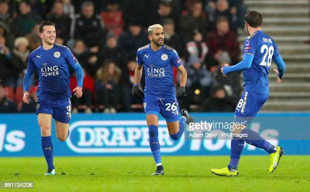 Leicester City's Riyad Mahrez celebrates scoring his side's first goal of the game during the Premier League match at St Mary's Stadium Southampton