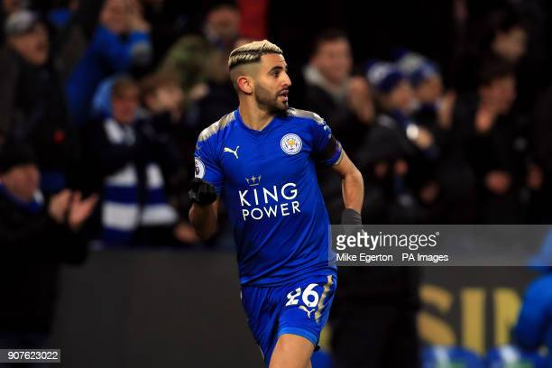 Leicester City's Riyad Mahrez celebrates scoring his side's second goal of the game during the Premier League match at the King Power Stadium...