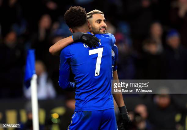 Leicester City's Riyad Mahrez celebrates scoring his side's second goal of the game with Demarai Gray during the Premier League match at the King...