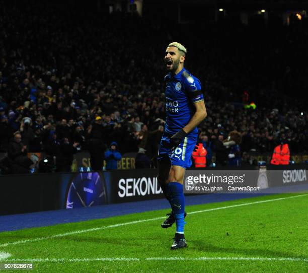 Leicester City's Riyad Mahrez celebrates scoring his sides second goal during the Premier League match between Leicester City and Watford at The King...