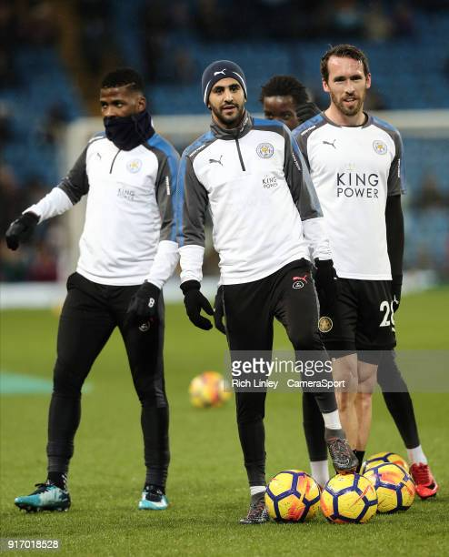 Leicester City's Riyad Mahrez during the prematch warmup ahead of the Premier League match between Manchester City and Leicester City at Etihad...