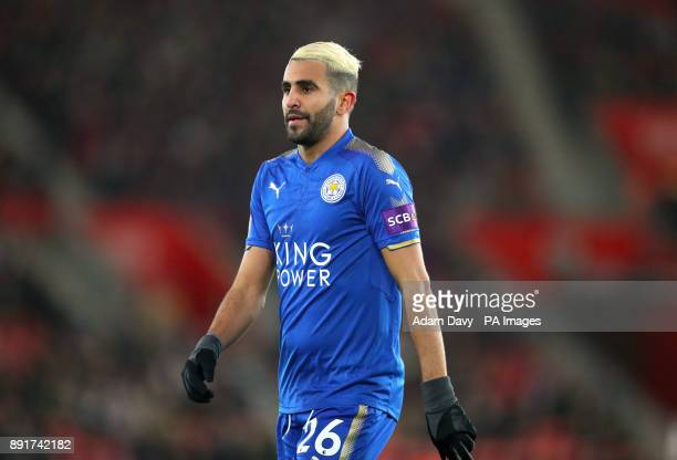 Leicester City's Riyad Mahrez during the Premier League match at St Mary's Stadium Southampton