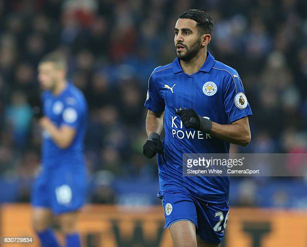 Leicester City's Riyad Mahrez during the Premier League match between Leicester City and West Ham United at The King Power Stadium on December 31...