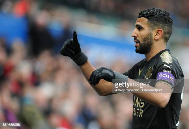 Leicester City's Riyad Mahrez during the Premier League match between Swansea City and Leicester City at Liberty Stadium on October 21 2017 in...
