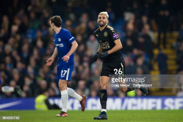 Leicester City's Riyad Mahrez during the Premier League match between Chelsea and Leicester City at Stamford Bridge on January 13 2018 in London...