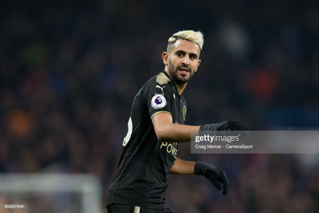 Leicester City's Riyad Mahrez during the Premier League match between Chelsea and Leicester City at Stamford Bridge on January 13, 2018 in London, England.