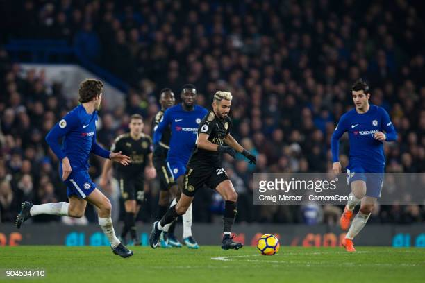 Leicester City's Riyad Mahrez in action during the Premier League match between Chelsea and Leicester City at Stamford Bridge on January 13 2018 in...