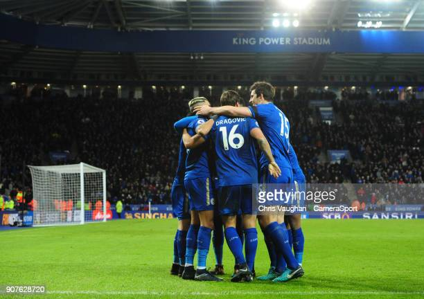 Leicester City's Riyad Mahrez left celebrates scoring his sides second goal with teammates during the Premier League match between Leicester City and...