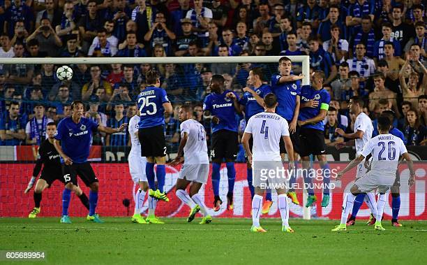 Leicester City's Riyad Mahrez scores a goal during the UEFA Champions League football match between Club Brugge and Leicester City at Jan...