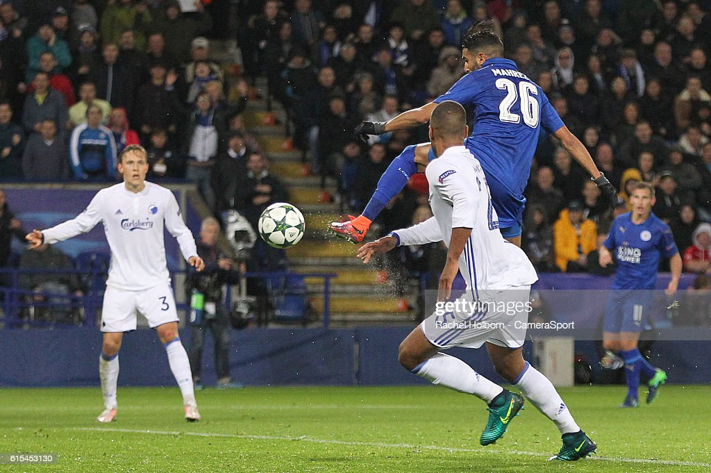Leicester City's Riyad Mahrez scores his sides first goal during the UEFA Champions League match between Leicester City FC and FC Copenhagen at The King Power Stadium on October 18, 2016 in Leicester, England.