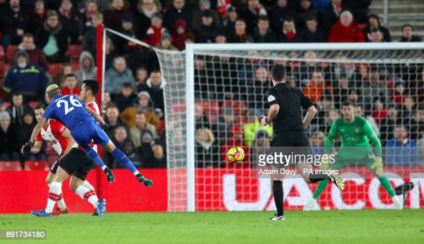 Leicester City's Riyad Mahrez scores his side's first goal of the game during the Premier League match at St Mary's Stadium Southampton