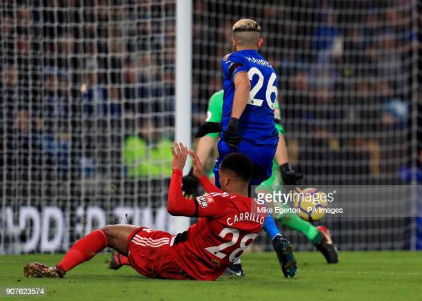 Leicester City's Riyad Mahrez scores his side's second goal of the game during the Premier League match at the King Power Stadium Leicester