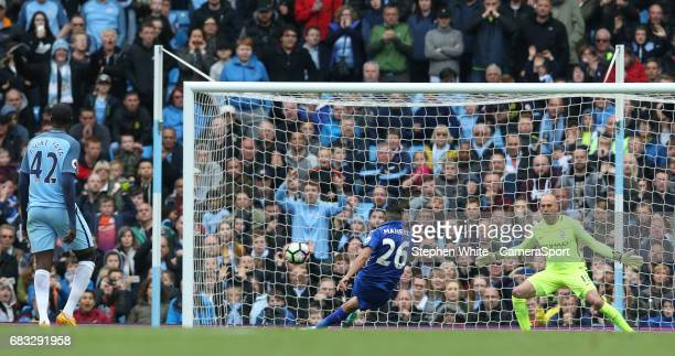 Leicester City's Riyad Mahrez slips as he takes a penalty resulting in Referee Bobby Madley disallowing the goal for making contact with the ball...