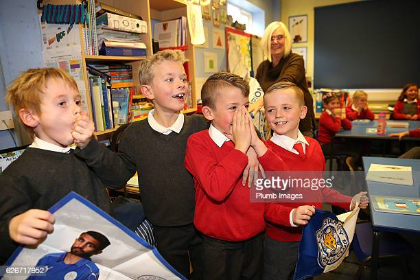 Leicester City's Riyad Mahrez suprises 4 young fans Archie Holm Liam Letts Leon Oscar Shakespeare and Alfie Marriott with a surprise visit with the...