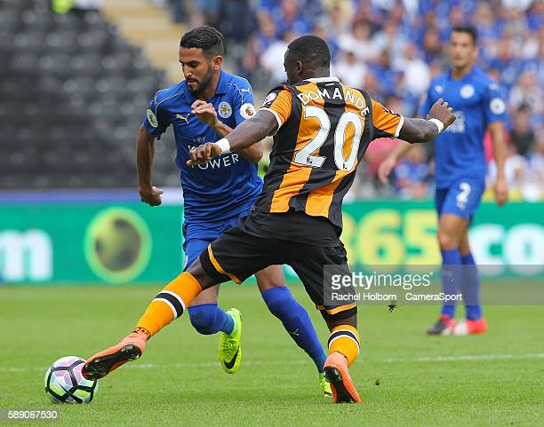 Leicester City's Riyad Mahrez takes on Hull City's Adama Diomande during todays game during the Premier League match between Hull City and Leicester...