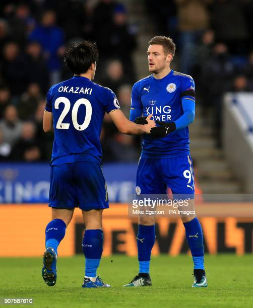 Leicester City's Shinji Okazaki shakes hands with Jamie Vardy after being substituted during the Premier League match at the King Power Stadium...