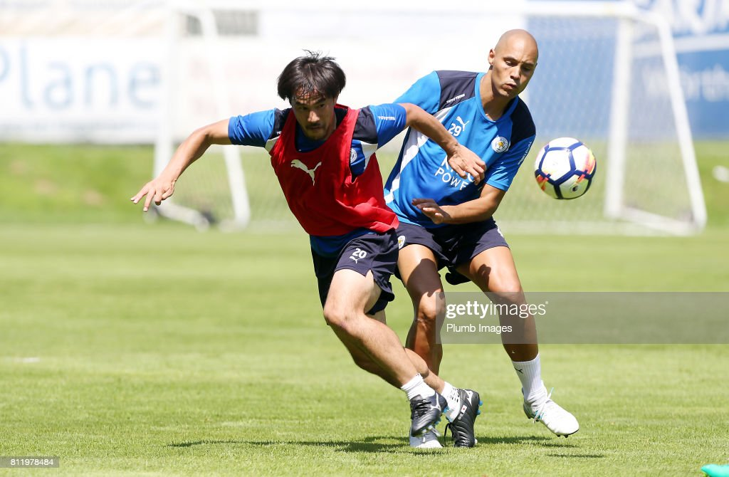 Leicester City's Shinji Okazaki under pressure from Yohan Benelouane during the Leicester City Pre-Season tour of Austria at Velden Training Facility on July 10th , 2017 in Velden, Austria.