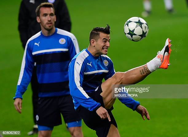 Leicester City's Spanish defender Luis Hernandez kicks the ball during a training session at the Dragao stadium in Porto on December 6 on the eve of...