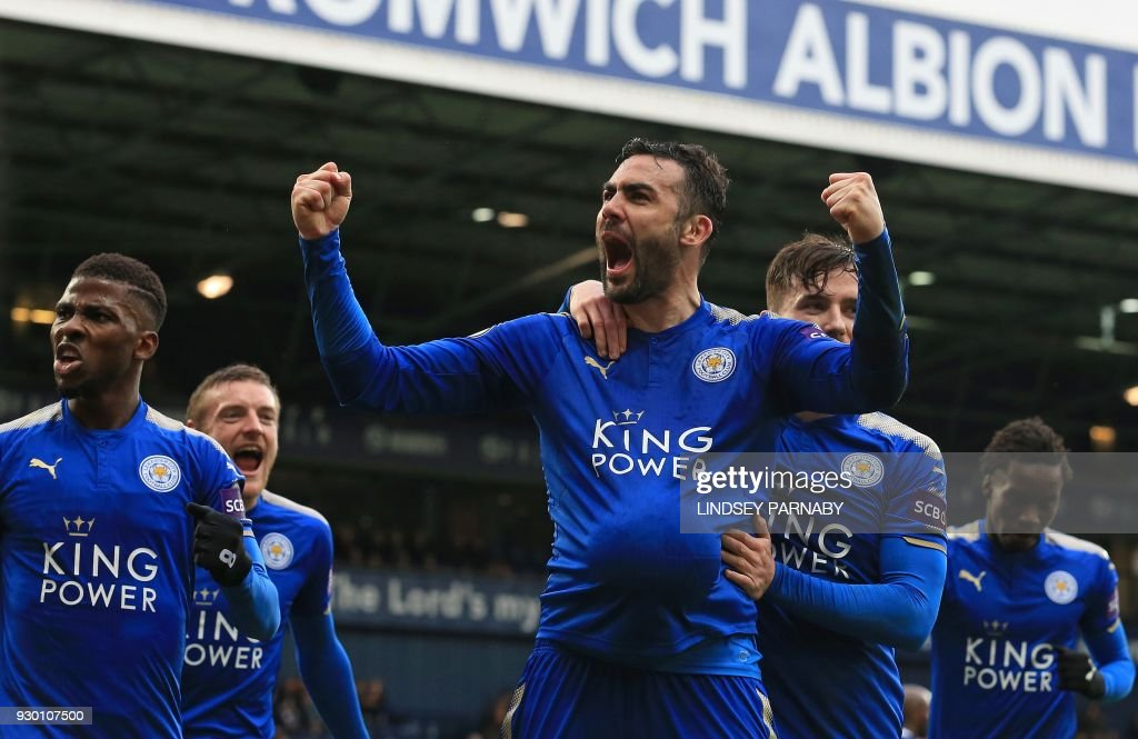 Leicester City's Spanish midfielder Vicente Iborra celebrates scoring his team's fourth goal during the English Premier League football match between West Bromwich Albion and Leicester City at The Hawthorns stadium in West Bromwich, central England, on March 10, 2018. PHOTO / Lindsey PARNABY / RESTRICTED TO EDITORIAL USE. No use with unauthorized audio, video, data, fixture lists, club/league logos or 'live' services. Online in-match use limited to 75 images, no video emulation. No use in betting, games or single club/league/player publications. /