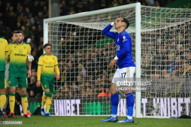 Leicester City's Spanish striker Ayoze Perez reacts to missing a shot at goal during the English Premier League football match between Norwich City...