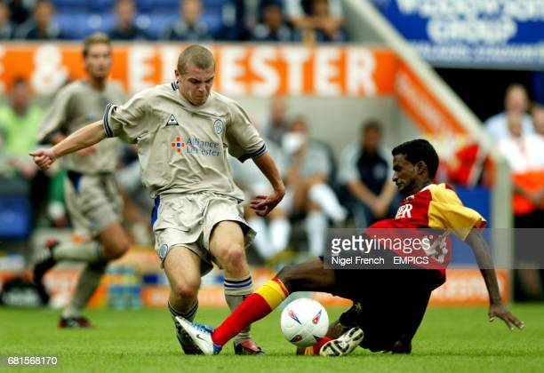 Leicester City's Stephen Dawson and East Bengal's Climax Lawrence.