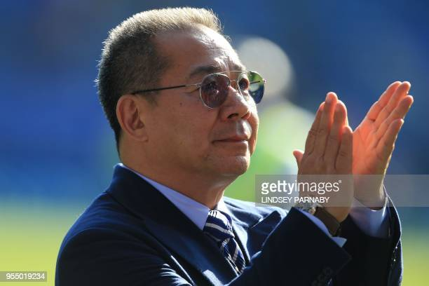 Leicester City's Thai chairman Vichai Srivaddhanaprabha applauds the fans following the English Premier League football match between Leicester City...
