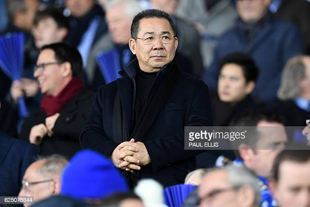 Leicester City's Thai chairman Vichai Srivaddhanaprabha watches during the UEFA Champions League group G football match between Leicester City and...