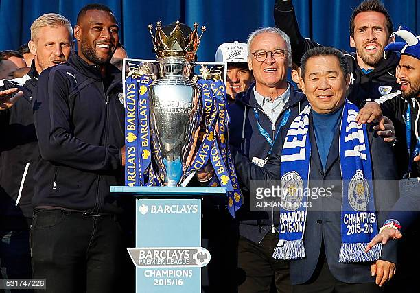 Leicester City's Thai owner and chairman Vichai Srivaddhanaprabha Leicester City's Italian manager Claudio Ranieri and Leicester City's English...