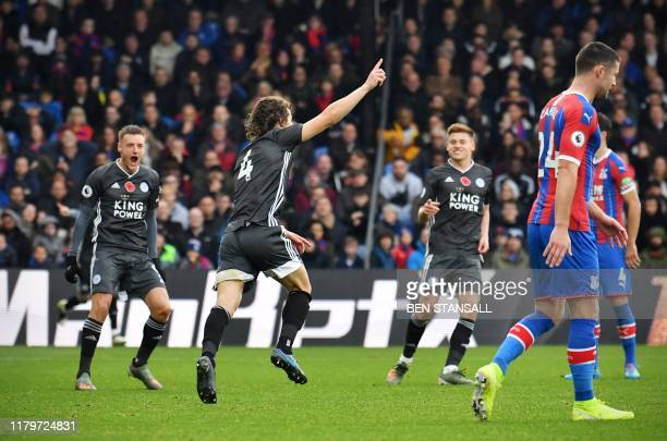Leicester City's Turkish defender Caglar Soyuncu celebrates scoring the opening goal during the English Premier League football match between Crystal...