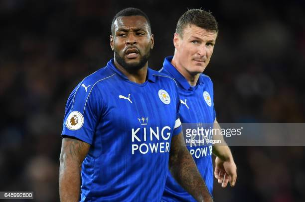 Leicester City's two central defenders Wes Morgan of Leicester City and Robert Huth of Leicester City look on during the Premier League match between...