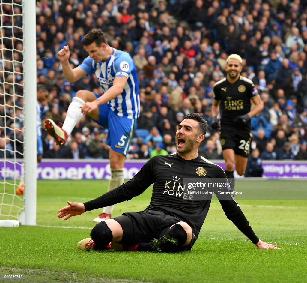 Leicester City's Vicente Iborra celebrates scoring his side's first goal during the Premier League match between Brighton and Hove Albion and Leicester City at Amex Stadium on March 31, 2018 in Brighton, England.