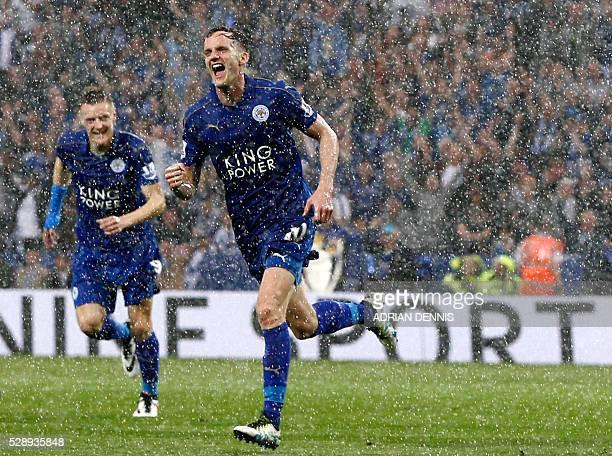 Leicester City's Welsh midfielder Andy King celebrates after scoring during the English Premier League football match between Leicester City and...