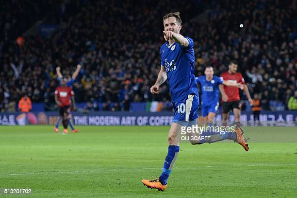 Leicester City's Welsh midfielder Andy King celebrates scoring their second goal during the English Premier League football match between Leicester...