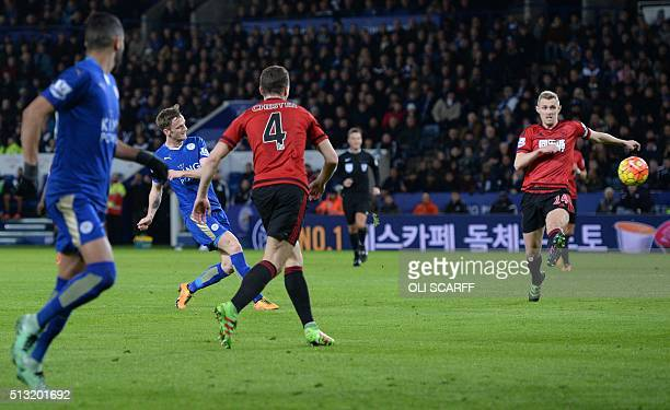 Leicester City's Welsh midfielder Andy King scores their second goal during the English Premier League football match between Leicester City and West...