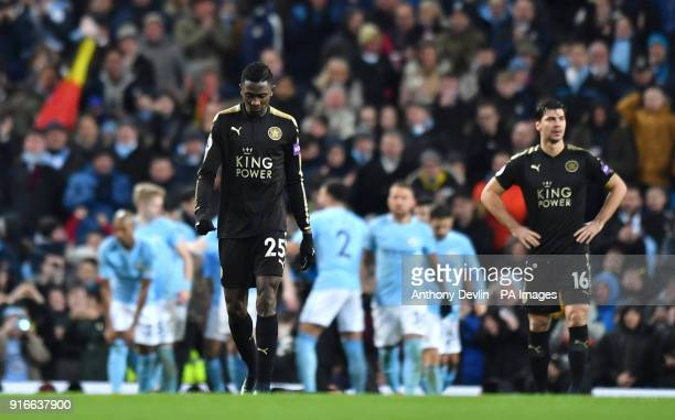 Leicester City's Wilfred Ndidi and Aleksandar Dragovic look dejected after Leicester City concede their second goal during the Premier League match...