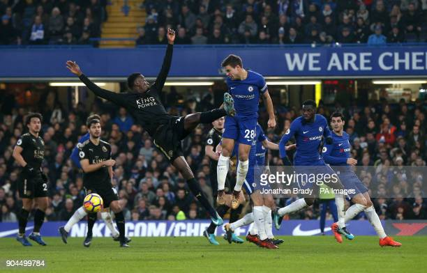 Leicester City's Wilfred Ndidi and Chelsea's Cesar Azpilicueta battle for the ball during the Premier League match at Stamford Bridge London