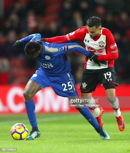 Leicester City's Wilfred Ndidi and Southampton's Sofiane Boufal battle for the ball during the Premier League match at St Mary's Stadium Southampton