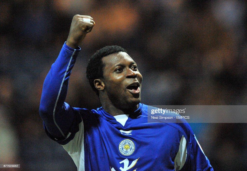 Leicester City's Yakubu celebrates scoring their opening goal