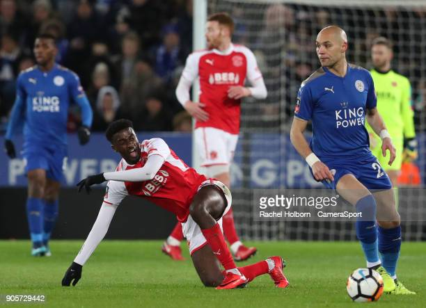 Leicester City's Yohan Benalouane and Fleetwood Town's Jordy Hiwula during The Emirates FA Cup Third Round Replay match between Leicester City and...