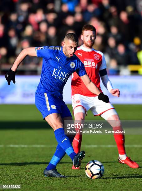FLEETWOOD ENGLAND JANUARY Leicester City's Yohan Benalouane in action during the Emirates FA Cup Third Round match between Fleetwood Town and...