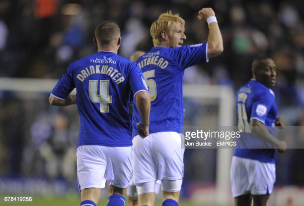 Leicester City's Zak Whitbread celebrates scoring the opening goal against Derby County
