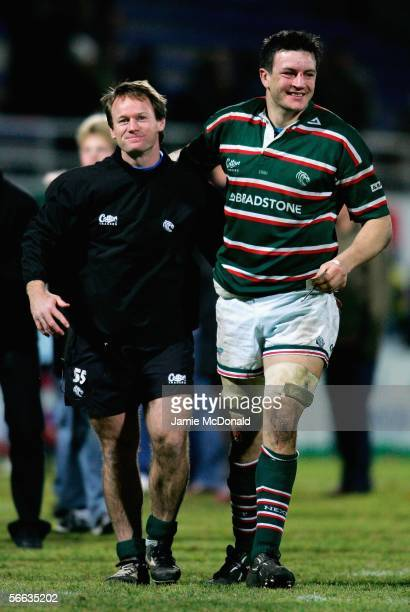 Leicester coach Pat Howard celebrates with Martin Corry after the Heineken Cup Pool 3 match between ASM Clermont Auvergne and Leicester Tigers at the...