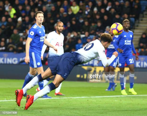 Leicester December 08 2018 Tottenham Hotspur's Dele Alli scores Spurs 2nd goal during the English Premier League match between Leicester City and...