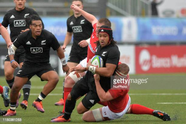 Leicester Fainga anuku from New Zealand fights for the ball in a match in New Zealand v Wales at the World Rugby U20 Championship at Racecourse...