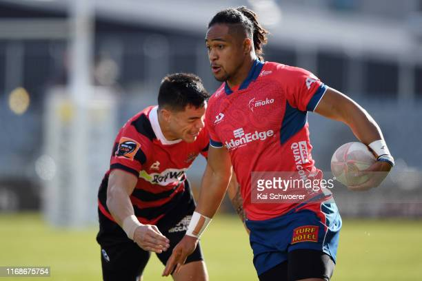Leicester Faingaanuku of Tasman runs through to score a try during the round two Mitre 10 Cup match between Canterbury and Tasman at Orangetheory...